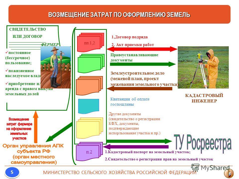 ВОЗМЕЩЕНИЕ ЗАТРАТ ПО ОФОРМЛЕНИЮ ЗЕМЕЛЬ МИНИСТЕРСТВО СЕЛЬСКОГО ХОЗЯЙСТВА РОССИЙСКОЙ ФЕДЕРАЦИИ 5 5 постоянное (бессрочное) пользование; пожизненное наследуемое владение; приобретение или аренда с правом выкупа земельных долей СВИДЕТЕЛЬСТВО ИЛИ ДОГОВОР