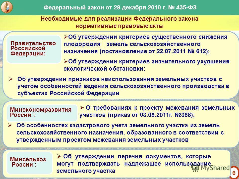 5 Основные новеллы Закона: Федеральный закон от 29 декабря 2010 г. 435-ФЗ «О внесении изменений в отдельные законодательные акты Российской Федерации в части совершенствования оборота земель сельскохозяйственного назначения» совершенствование порядка