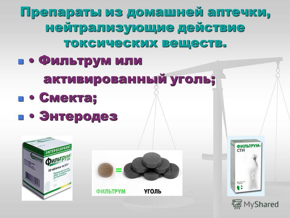 Препараты из домашней аптечки, нейтрализующие действие токсических веществ. Фильтрум или Фильтрум или активированный уголь; активированный уголь; Смекта; Смекта; Энтеродез Энтеродез
