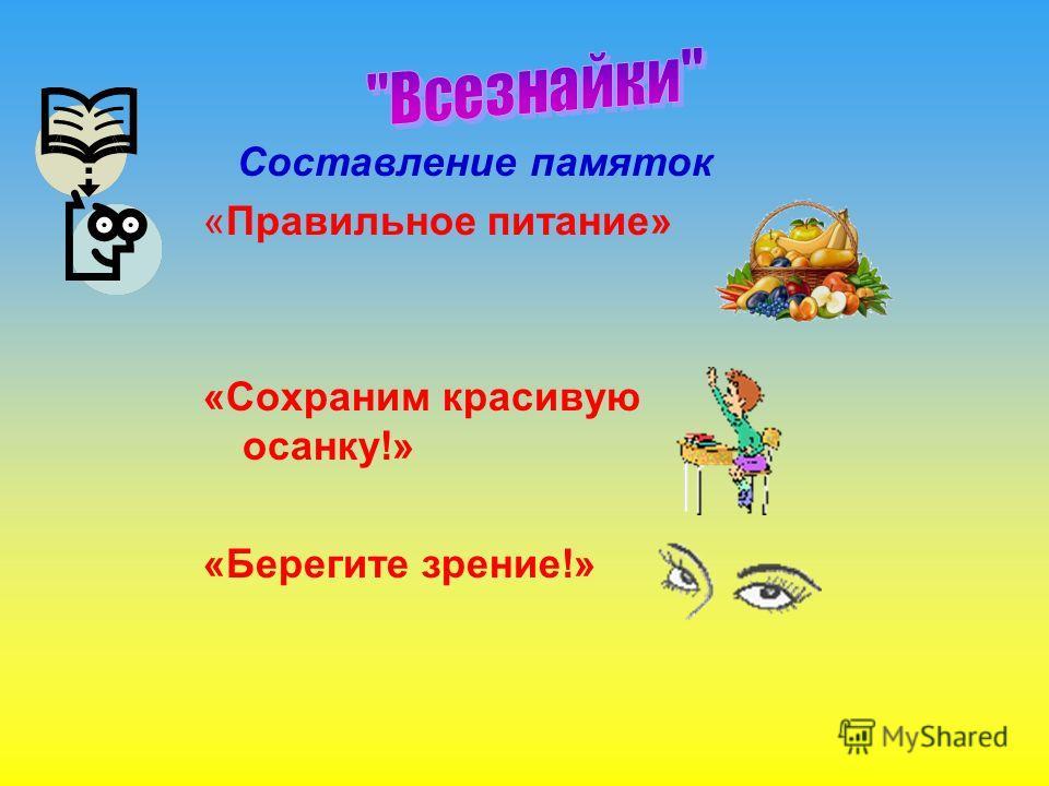 Составление памяток «Правильное питание» «Сохраним красивую осанку!» «Берегите зрение!»