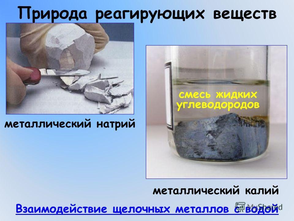 Природа реагирующих веществ металлический натрий Взаимодействие щелочных металлов с водой металлический калий смесь жидких углеводородов