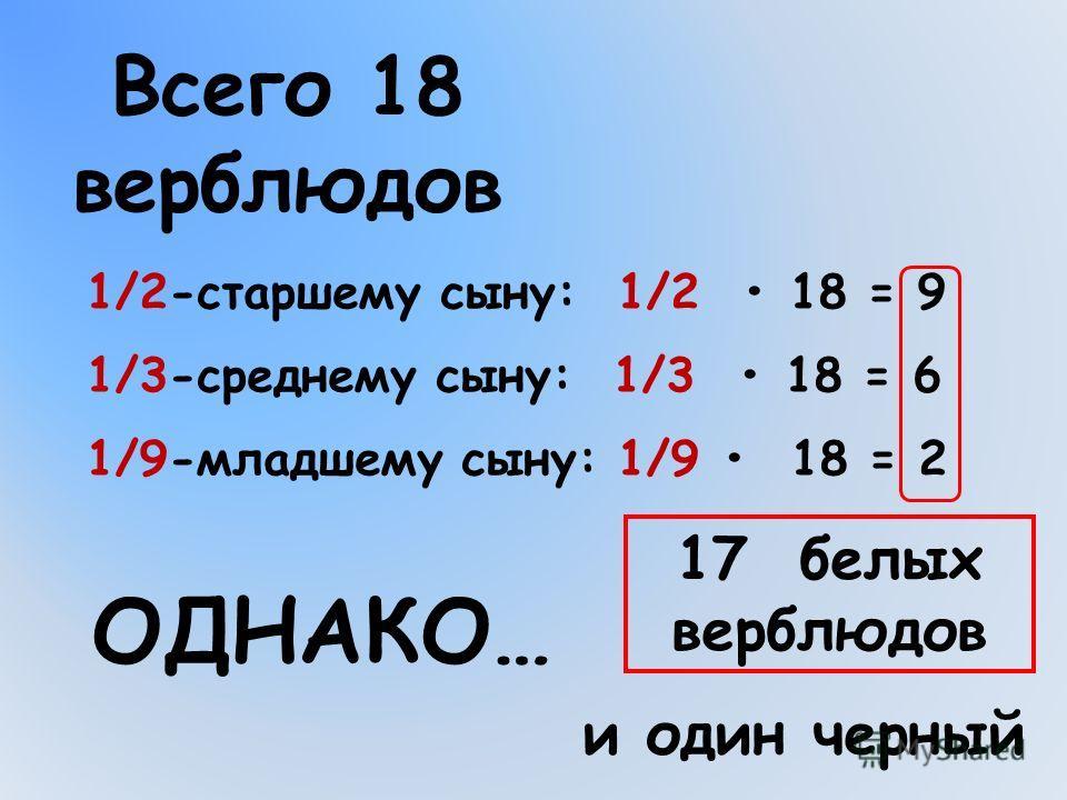 1/2-старшему сыну: 1/2 18 = 9 1/9-младшему сыну: 1/9 18 = 2 1/3-среднему сыну: 1/3 18 = 6 Всего 18 верблюдов ОДНАКО… 17 белых верблюдов и один черный