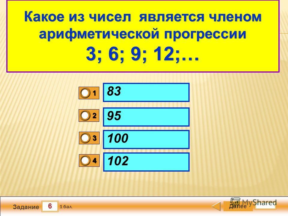 6 Задание Далее 1 бал. 1111 0 2222 0 3333 0 4444 0 Арифметический квадратный корень 83 95 100 102 Какое из чисел является членом арифметической прогрессии 3; 6; 9; 12;…