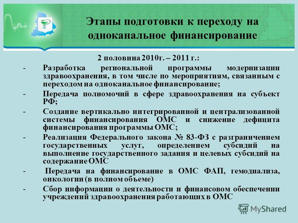 Этапы подготовки к переходу на одноканальное финансирование 2 половина 2010г. – 2011 г.: -Разработка региональной программы модернизации здравоохранения, в том числе по мероприятиям, связанным с переходом на одноканальное финансирование; -Передача по