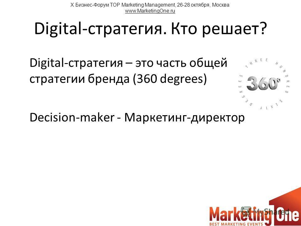 Digital-стратегия. Кто решает? Digital-стратегия – это часть общей стратегии бренда (360 degrees) Decision-maker - Маркетинг-директор Х Бизнес-Форум TOP Marketing Management, 26-28 октября, Москва www.MarketingOne.ru
