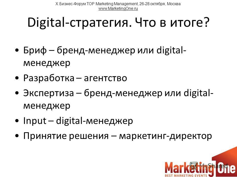Digital-стратегия. Что в итоге? Бриф – бренд-менеджер или digital- менеджер Разработка – агентство Экспертиза – бренд-менеджер или digital- менеджер Input – digital-менеджер Принятие решения – маркетинг-директор Х Бизнес-Форум TOP Marketing Managemen
