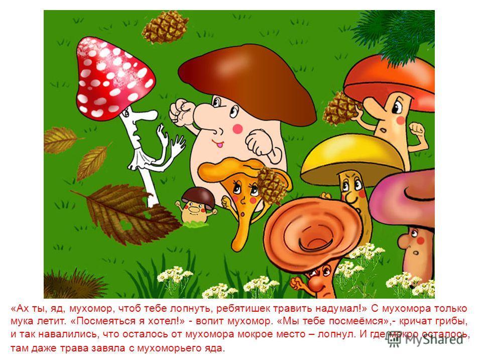 Вдруг из-под прелых листьев вылезает красный гриб, словно мукой сладкой обсыпан – плотный, красивый. Ахнули Иван да Косичка: «Миленький гриб, можно тебя съесть?» «Можно, детки, можно, с удовольствием», - приятным голосом отвечает им красный гриб, так