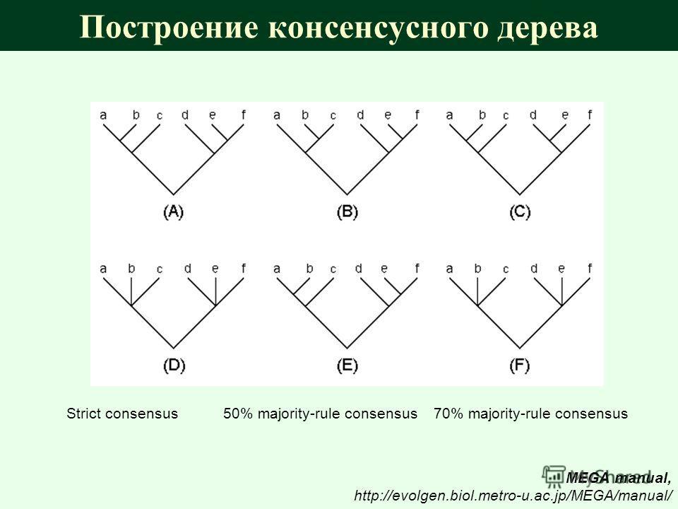 Построение консенсусного дерева Strict consensus 50% majority-rule consensus 70% majority-rule consensus MEGA manual, http://evolgen.biol.metro-u.ac.jp/MEGA/manual/