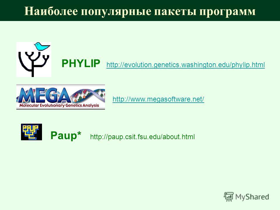 Наиболее популярные пакеты программ PHYLIP http://evolution.genetics.washington.edu/phylip.html http://evolution.genetics.washington.edu/phylip.html http://www.megasoftware.net/ Paup* http://paup.csit.fsu.edu/about.html