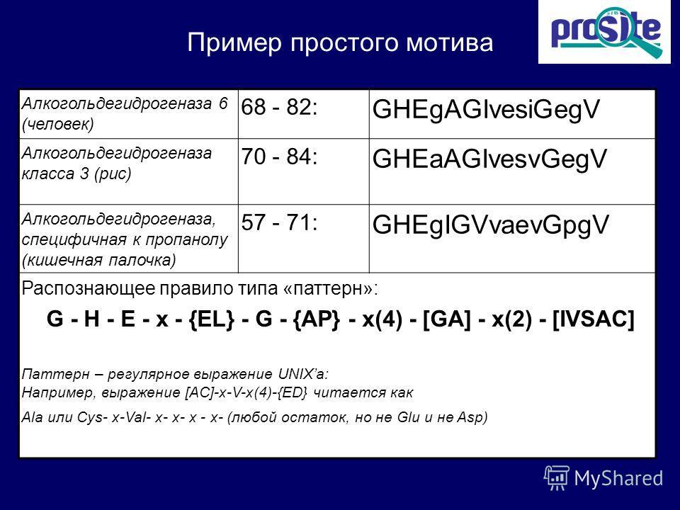 Пример простого мотива Алкогольдегидрогеназа 6 (человек) 68 - 82: GHEgAGIvesiGegV Алкогольдегидрогеназа класса 3 (рис) 70 - 84: GHEaAGIvesvGegV Алкогольдегидрогеназа, специфичная к пропанолу (кишечная палочка) 57 - 71: GHEgIGVvaevGpgV Распознающее пр