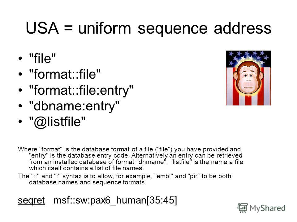 USA = uniform sequence address