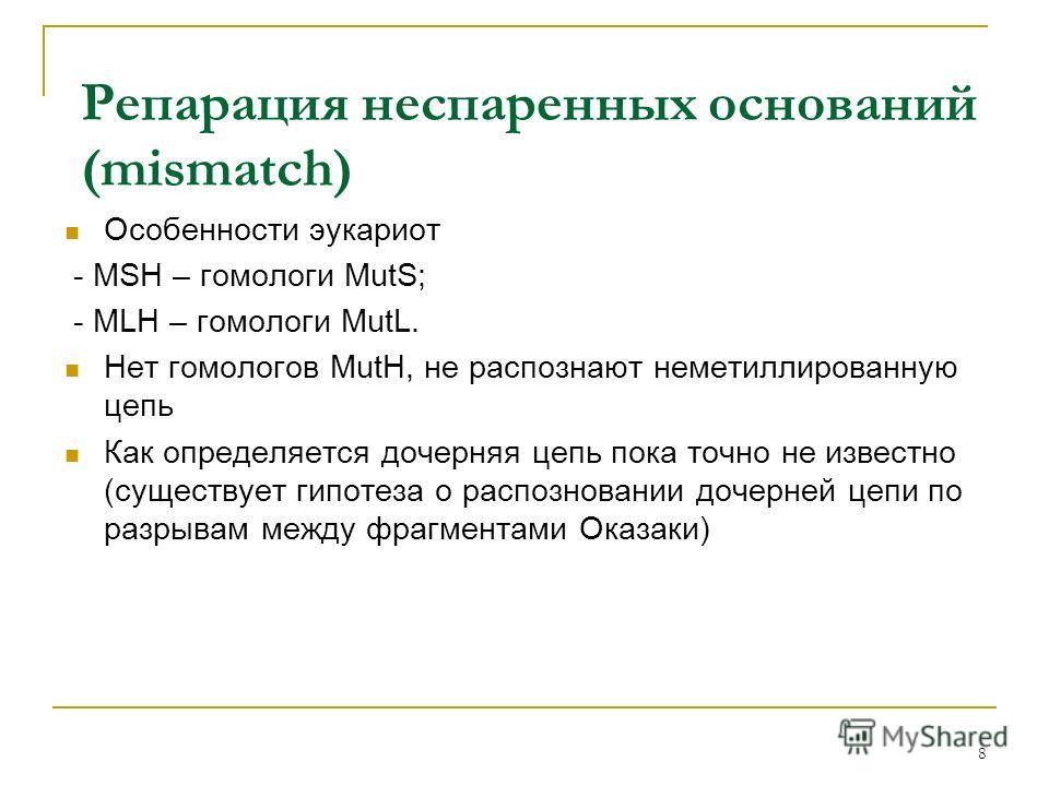Особенности эукариот - MSH – гомологи MutS; - MLH – гомологи MutL. Нет гомологов MutH, не распознают неметиллированную цепь Как определяется дочерняя цепь пока точно не известно (существует гипотеза о распозновании дочерней цепи по разрывам между фра