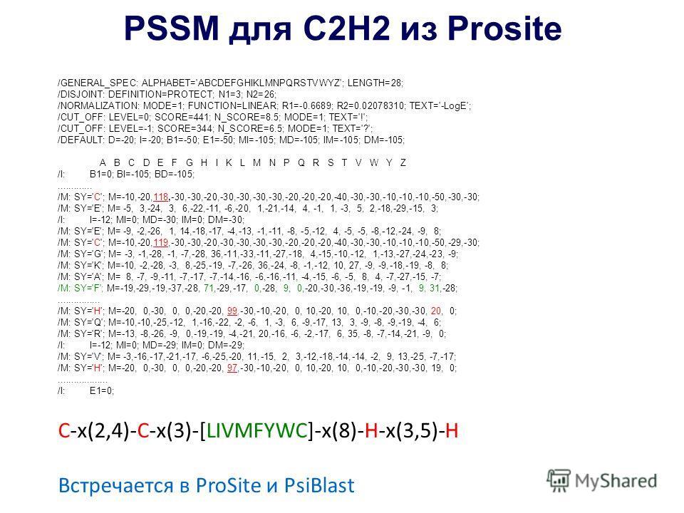PSSM для С2Н2 из Prosite /GENERAL_SPEC: ALPHABET='ABCDEFGHIKLMNPQRSTVWYZ'; LENGTH=28; /DISJOINT: DEFINITION=PROTECT; N1=3; N2=26; /NORMALIZATION: MODE=1; FUNCTION=LINEAR; R1=-0.6689; R2=0.02078310; TEXT='-LogE'; /CUT_OFF: LEVEL=0; SCORE=441; N_SCORE=