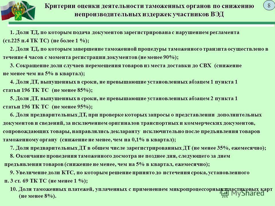 Критерии оценки деятельности таможенных органов по снижению непроизводительных издержек участников ВЭД 1. Доля ТД, по которым подача документов зарегистрирована с нарушением регламента (ст.225 п.4 ТК ТС) (не более 1 %); 2. Доля ТД, по которым заверше