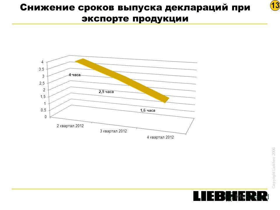 Copyright Liebherr 2006 Снижение сроков выпуска деклараций при экспорте продукции 13