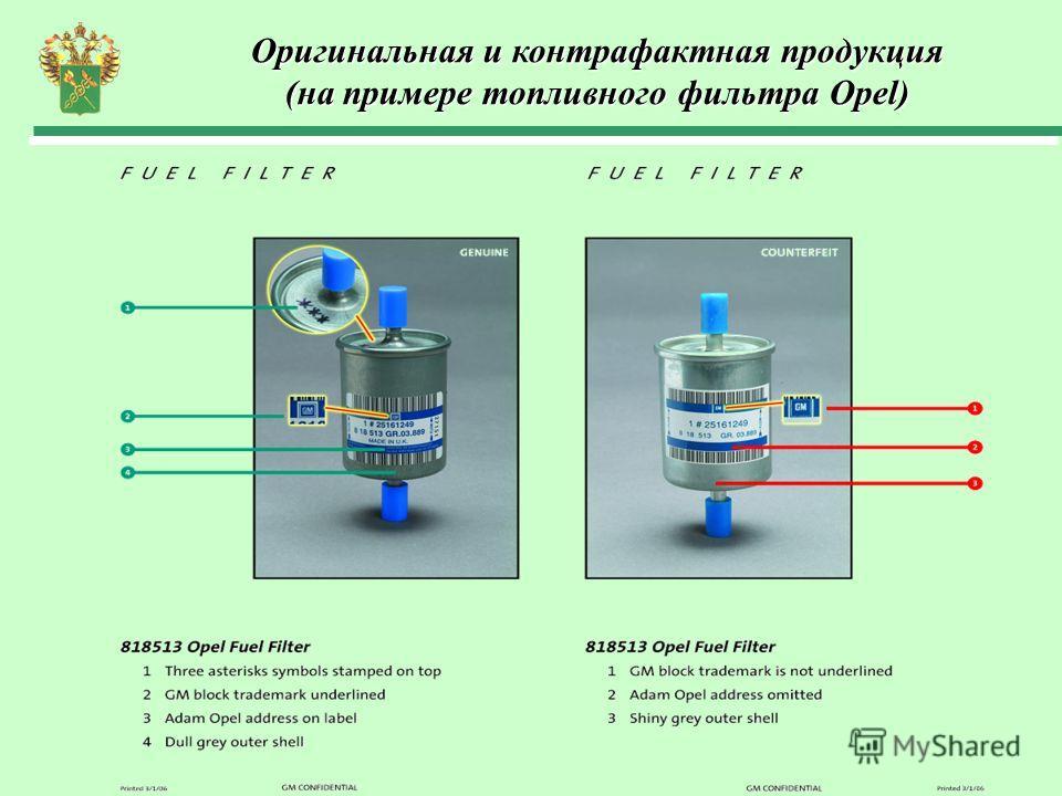 Оригинальная и контрафактная продукция (на примере топливного фильтра Opel)