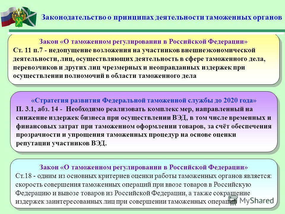 Законодательство о принципах деятельности таможенных органов «Стратегия развития Федеральной таможенной службы до 2020 года» П. 3.1, абз. 14 - Необходимо реализовать комплекс мер, направленный на снижение издержек бизнеса при осуществлении ВЭД, в том