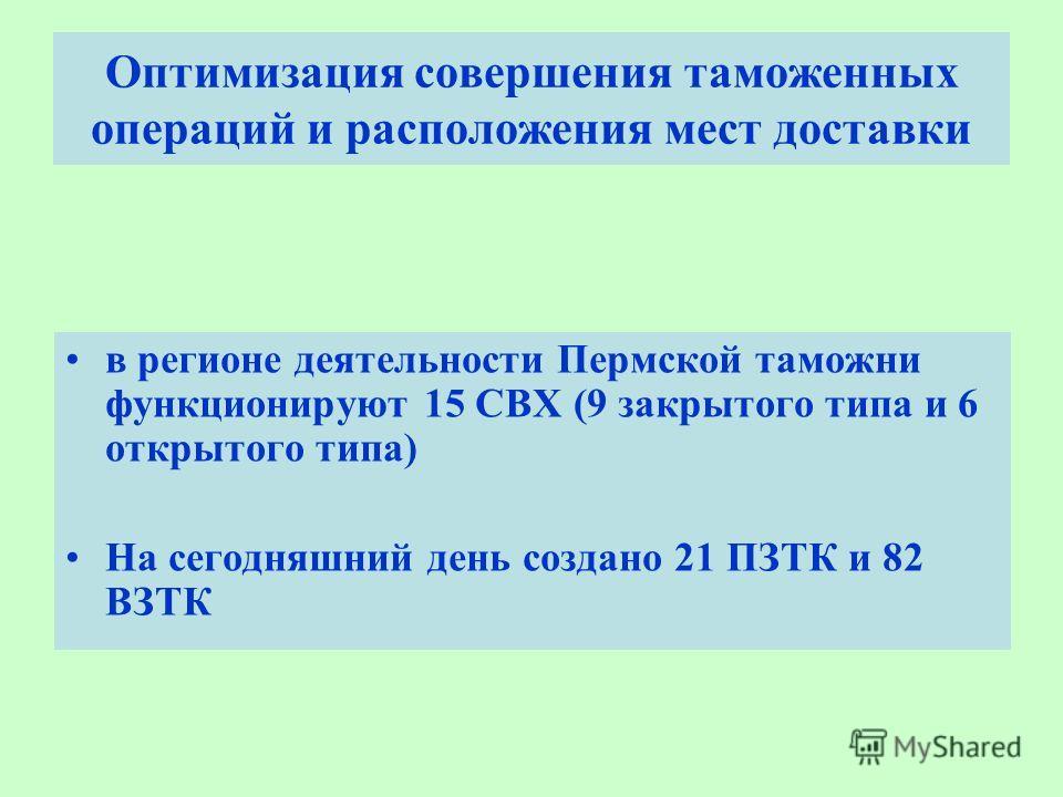 Оптимизация совершения таможенных операций и расположения мест доставки в регионе деятельности Пермской таможни функционируют 15 СВХ (9 закрытого типа и 6 открытого типа) На сегодняшний день создано 21 ПЗТК и 82 ВЗТК