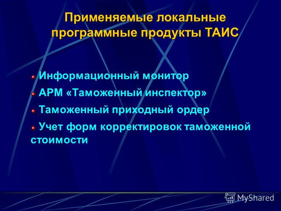 Применяемые локальные программные продукты ТАИС Информационный монитор АРМ «Таможенный инспектор» Таможенный приходный ордер Учет форм корректировок таможенной стоимости