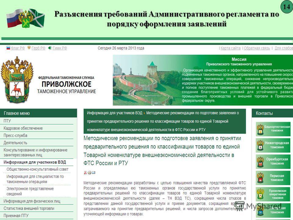 Разъяснения требований Административного регламента по порядку оформления заявлений 14