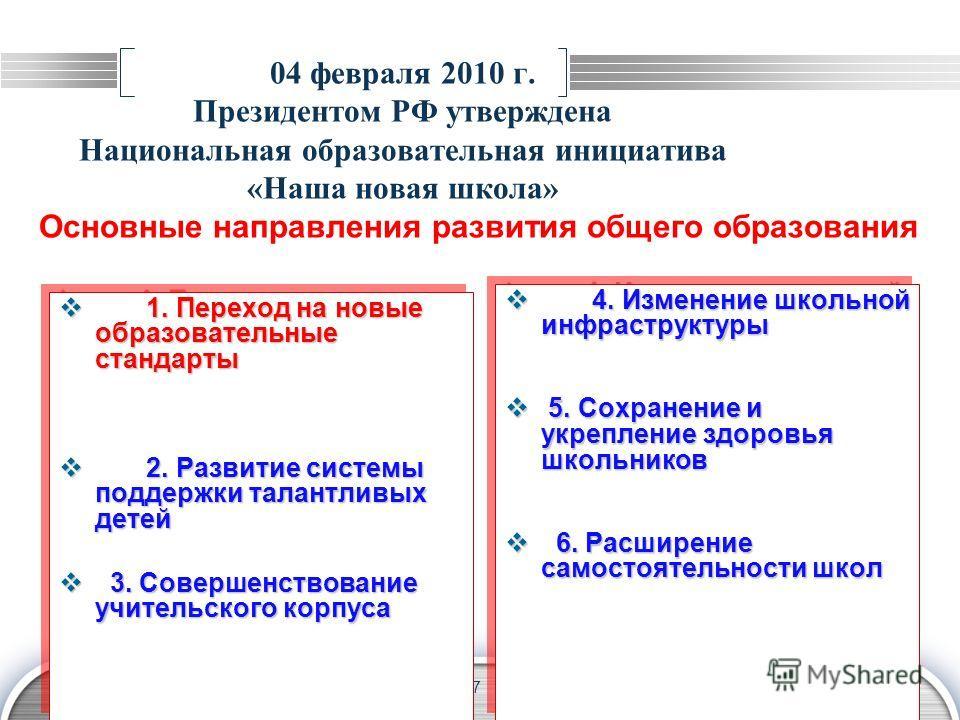 LOGO 7 04 февраля 2010 г. Президентом РФ утверждена Национальная образовательная инициатива «Наша новая школа» Основные направления развития общего образования 1. Переход на новые образовательные стандарты 1. Переход на новые образовательные стандарт