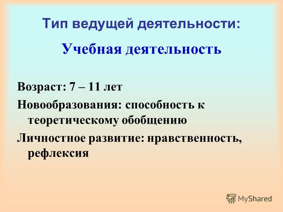 Тип ведущей деятельности: Учебная деятельность Возраст: 7 – 11 лет Новообразования: способность к теоретическому обобщению Личностное развитие: нравственность, рефлексия
