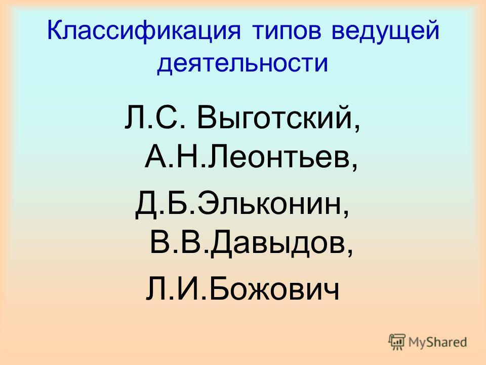 Классификация типов ведущей деятельности Л.С. Выготский, А.Н.Леонтьев, Д.Б.Эльконин, В.В.Давыдов, Л.И.Божович