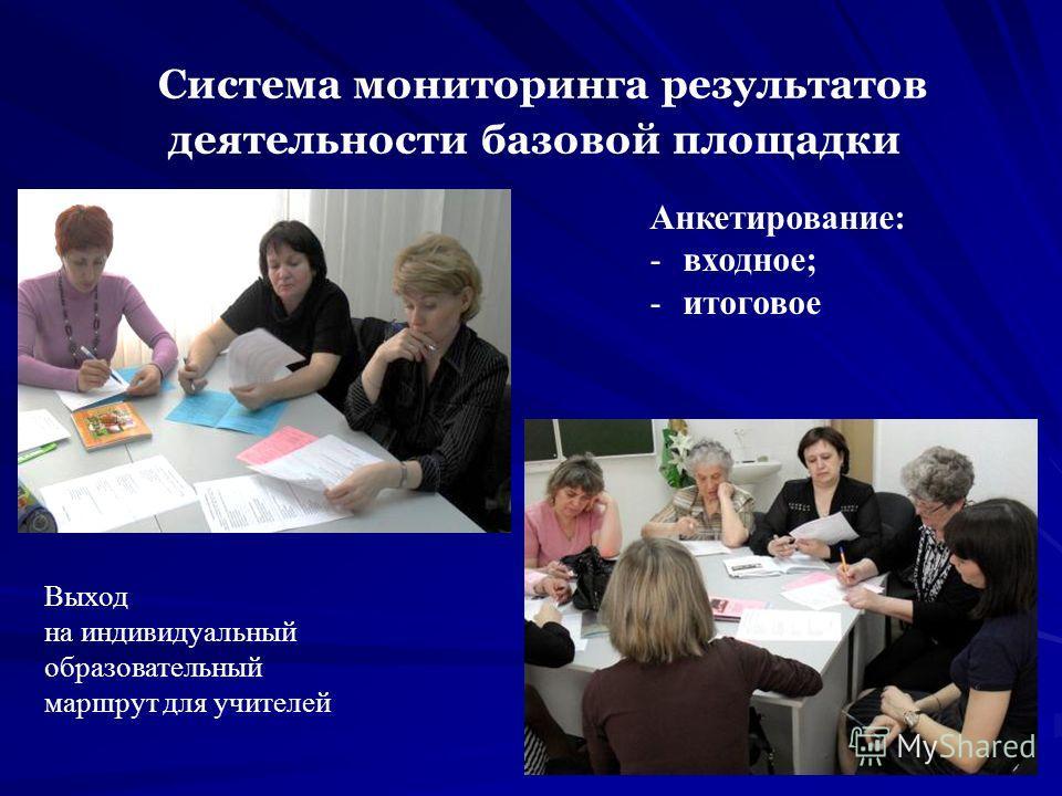 Система мониторинга результатов деятельности базовой площадки Анкетирование: -входное; -итоговое Выход на индивидуальный образовательный маршрут для учителей