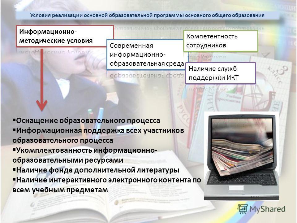 Оснащение образовательного процесса Информационная поддержка всех участников образовательного процесса Укомплектованность информационно- образовательными ресурсами Наличие фонда дополнительной литературы Наличие интерактивного электронного контента п