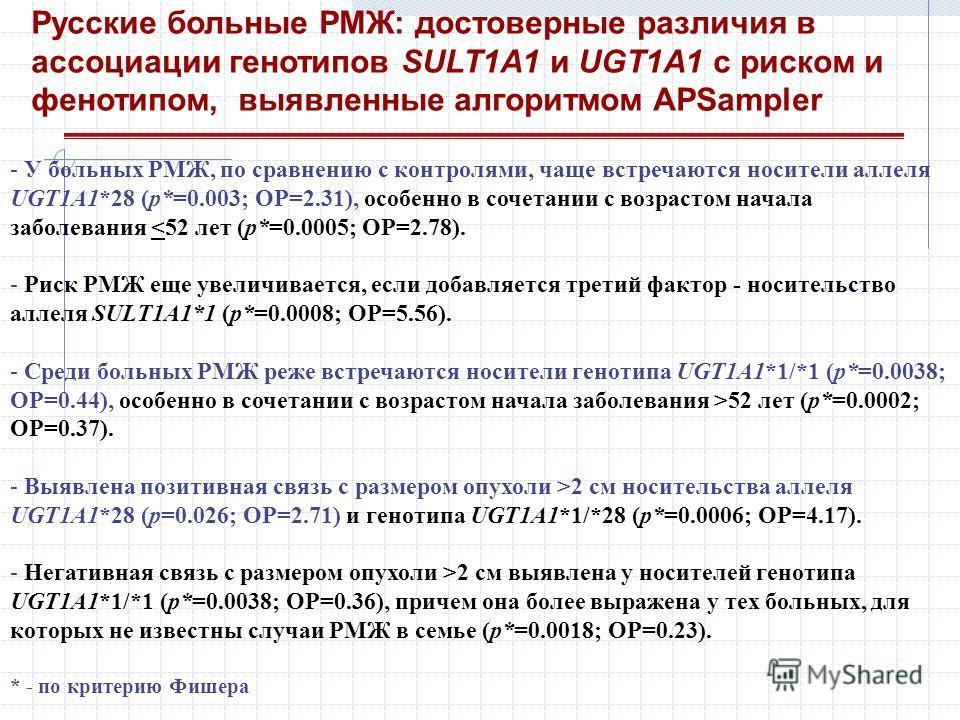Русские больные РМЖ: достоверные различия в ассоциации генотипов SULT1A1 и UGT1A1 с риском и фенотипом, выявленные алгоритмом APSampler - У больных РМЖ, по сравнению с контролями, чаще встречаются носители аллеля UGT1A1*28 (р*=0.003; ОР=2.31), особен