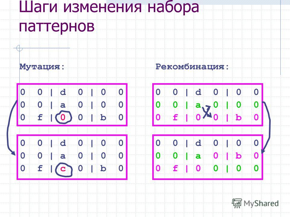 Мутация: 0 0 | d 0 | 0 0 0 0 | a 0 | 0 0 0 f | 0 0 | b 0 0 0 | d 0 | 0 0 0 0 | a 0 | 0 0 0 f | c 0 | b 0 Шаги изменения набора паттернов Рекомбинация: 0 0 | d 0 | 0 0 0 0 | a 0 | 0 0 0 f | 0 0 | b 0 0 0 | d 0 | 0 0 0 0 | a 0 | b 0 0 f | 0 0 | 0 0