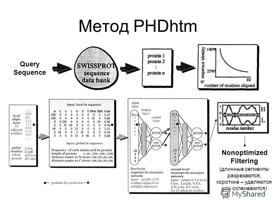 Метод PHDhtm Query Sequence Nonoptimized Filtering (длинные сегменты разрезаются, короткие – удаляются или склеиваются)