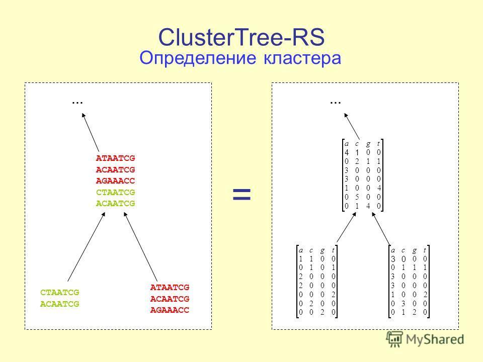 ClusterTree-RS Определение кластера ATAATCG ACAATCG AGAAACC CTAATCG ACAATCG ATAATCG ACAATCG AGAAACC CTAATCG ACAATCG … 0200 0020 2000 0002 0002 1010 0011 tgca 0210 0030 200 1 0003 0003 1110 00 03 tgca 0410 0050 4 00 1 0003 0003 1120 00 14 tgca … =