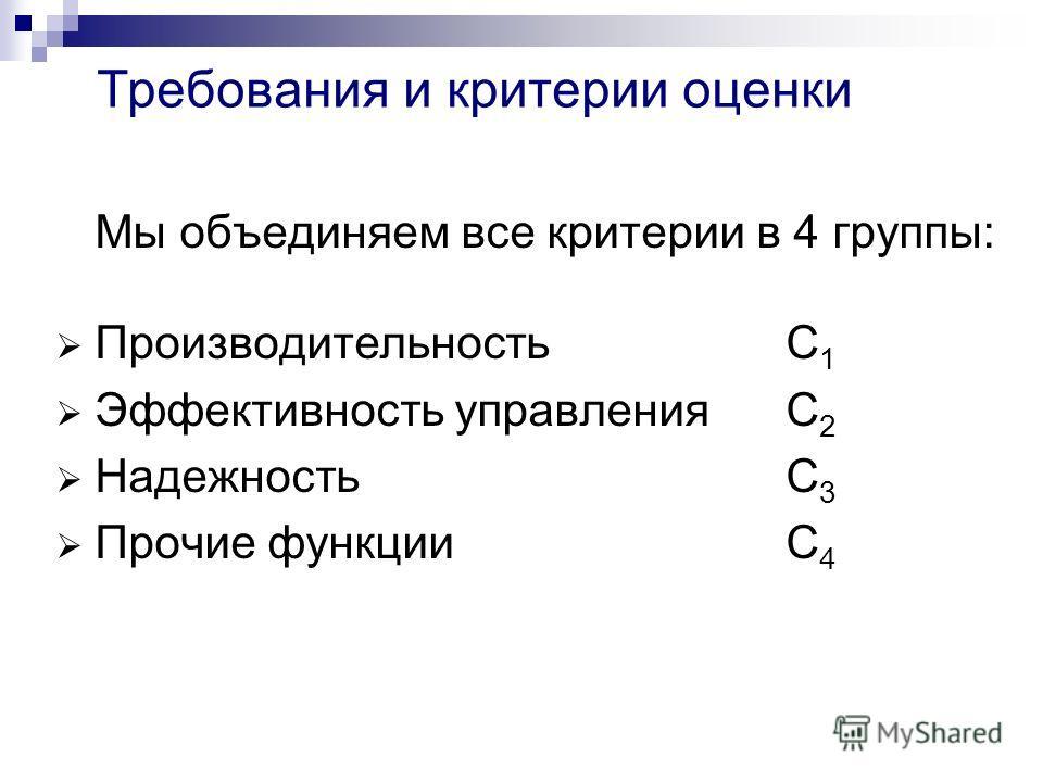 Требования и критерии оценки Мы объединяем все критерии в 4 группы: ПроизводительностьC 1 Эффективность управленияC 2 НадежностьC 3 Прочие функцииC 4