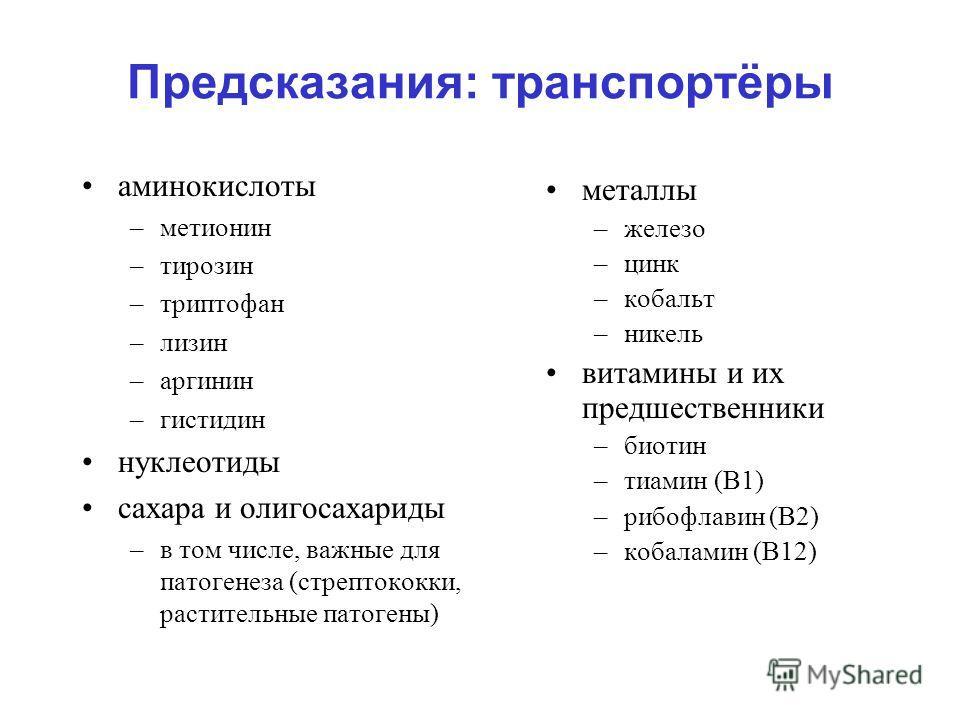 Предсказания: транспортёры аминокислоты –метионин –тирозин –триптофан –лизин –аргинин –гистидин нуклеотиды сахара и олигосахариды –в том числе, важные для патогенеза (стрептококки, растительные патогены) металлы –железо –цинк –кобальт –никель витамин