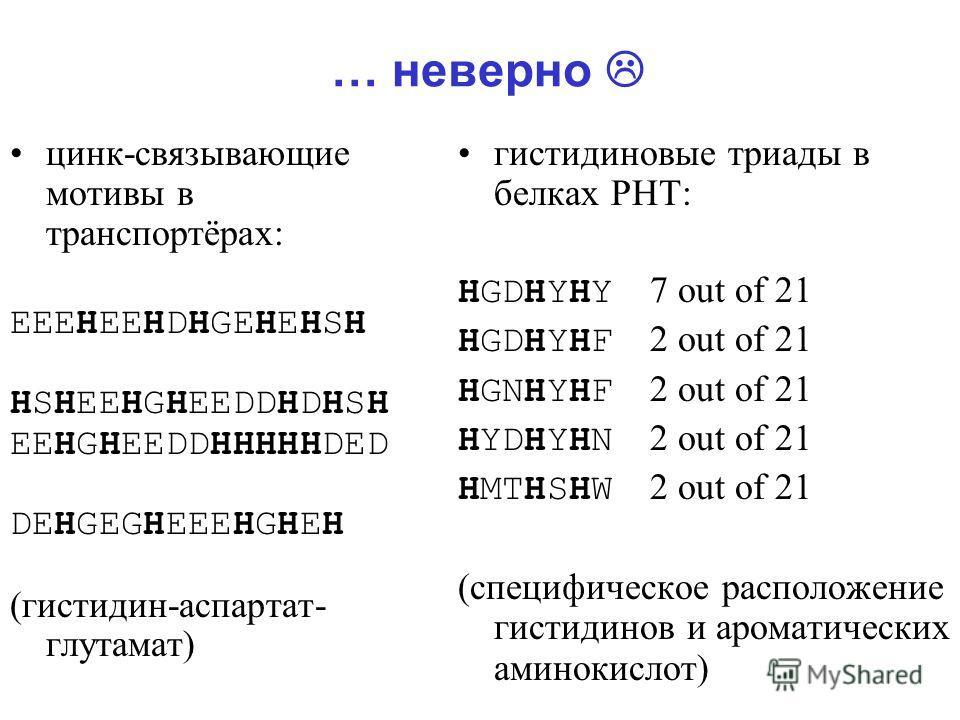 … неверно цинк-связывающие мотивы в транспортёрах: EEEHEEHDHGEHEHSH HSHEEHGHEEDDHDHSH EEHGHEEDDHHHHHDED DEHGEGHEEEHGHEH (гистидин-аспартат- глутамат) гистидиновые триады в белках PHT: HGDHYHY 7 out of 21 HGDHYHF 2 out of 21 HGNHYHF 2 out of 21 HYDHYH