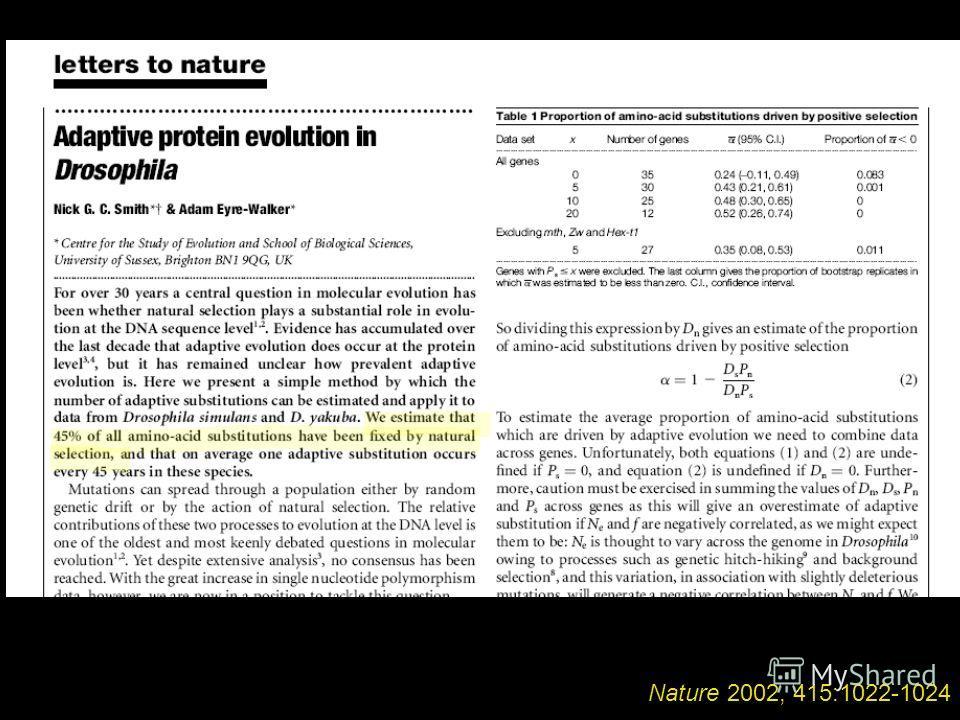 Nature 2002, 415:1022-1024