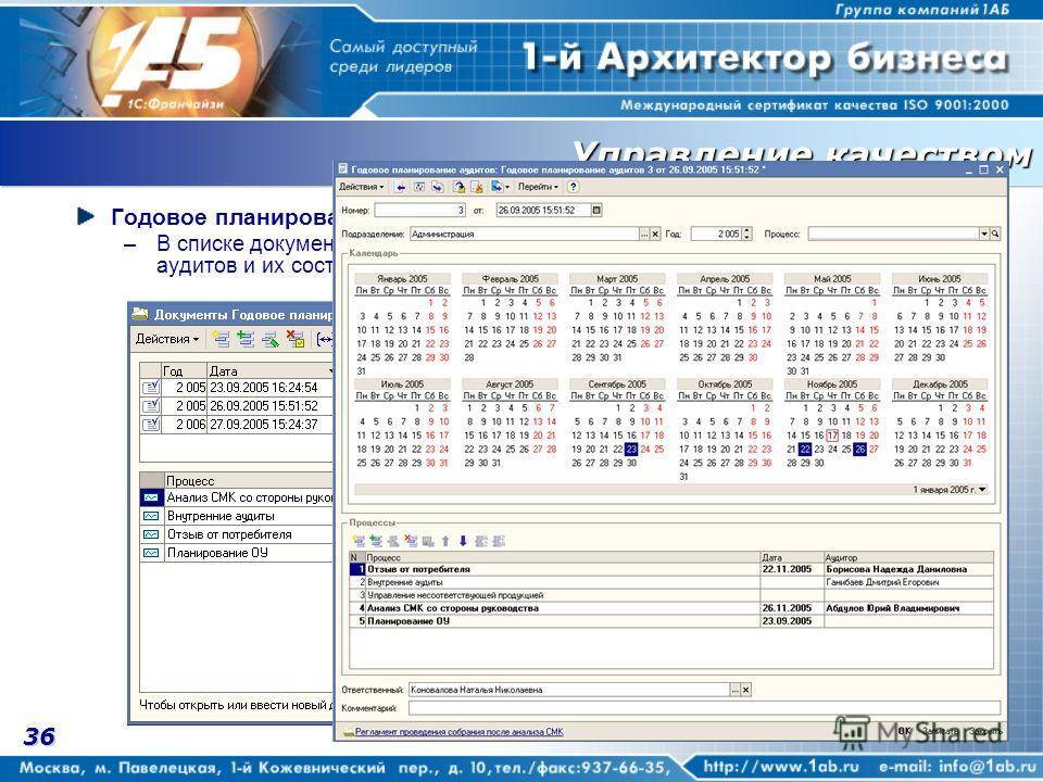 36 Годовое планирование –В списке документов в нижнем окне динамически отображаются процессы для аудитов и их состояние.