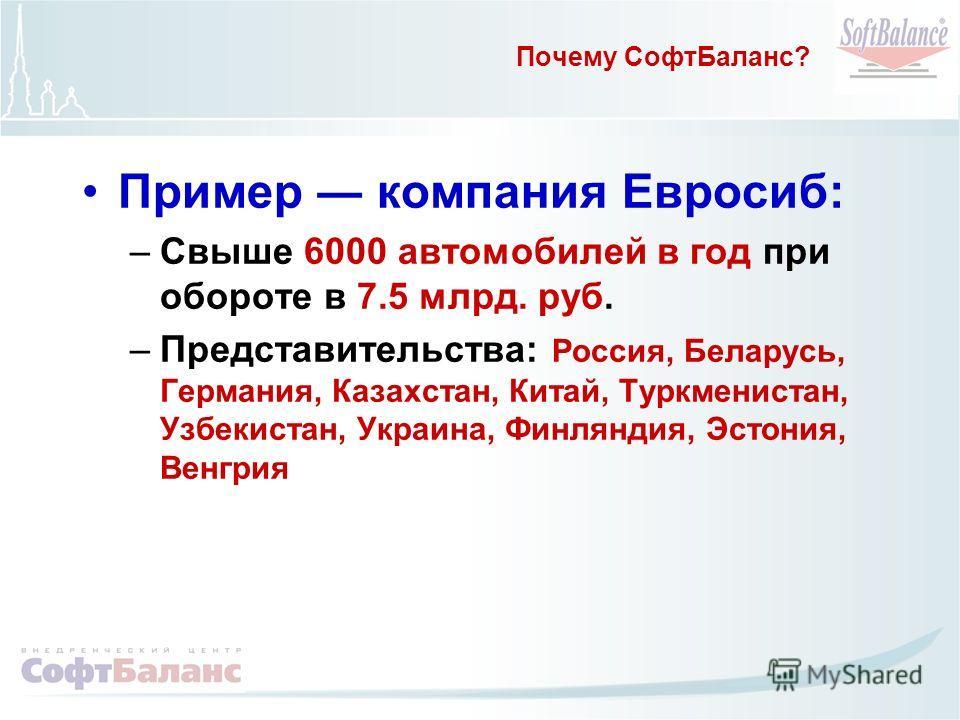 Почему СофтБаланс? Пример компания Евросиб: –Свыше 6000 автомобилей в год при обороте в 7.5 млрд. руб. –Представительства: Россия, Беларусь, Германия, Казахстан, Китай, Туркменистан, Узбекистан, Украина, Финляндия, Эстония, Венгрия