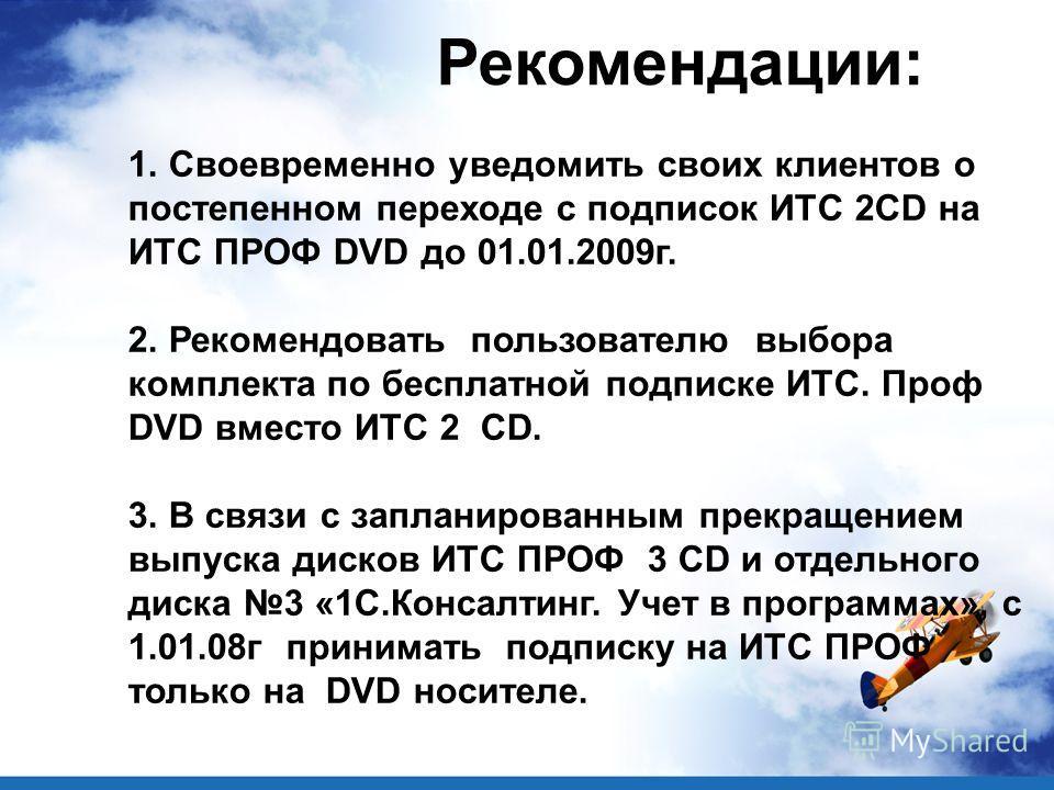 1. Своевременно уведомить своих клиентов о постепенном переходе с подписок ИТС 2CD на ИТС ПРОФ DVD до 01.01.2009г. 2. Рекомендовать пользователю выбора комплекта по бесплатной подписке ИТС. Проф DVD вместо ИТС 2 CD. 3. В связи с запланированным прекр