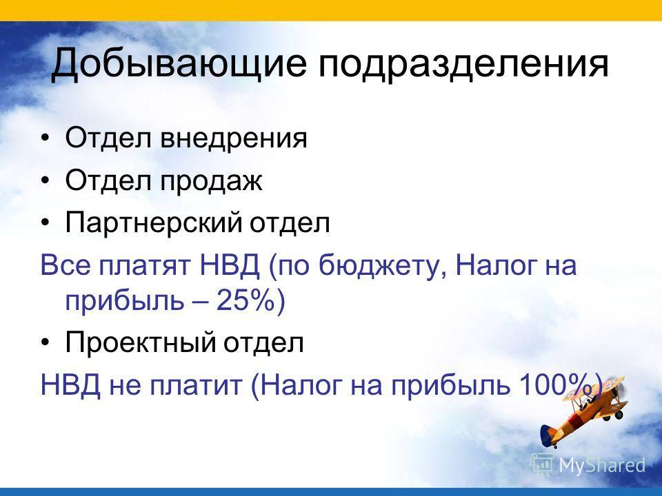 Добывающие подразделения Отдел внедрения Отдел продаж Партнерский отдел Все платят НВД (по бюджету, Налог на прибыль – 25%) Проектный отдел НВД не платит (Налог на прибыль 100%)