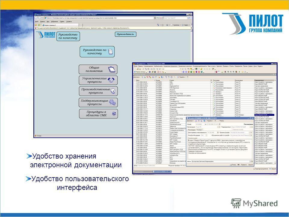 Удобство пользовательского интерфейса Удобство хранения электронной документации