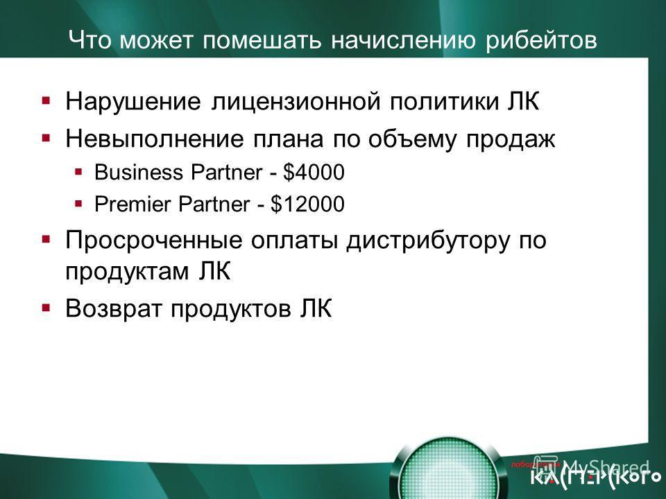 Что может помешать начислению рибейтов Нарушение лицензионной политики ЛК Невыполнение плана по объему продаж Business Partner - $4000 Premier Partner - $12000 Просроченные оплаты дистрибутору по продуктам ЛК Возврат продуктов ЛК