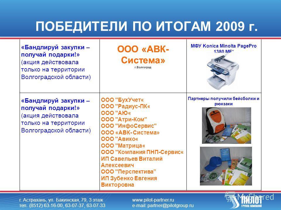 ПОБЕДИТЕЛИ ПО ИТОГАМ 2009 г. г. Астрахань, ул. Бакинская, 79, 3 этаж тел. (8512) 63-16-00, 63-07-37, 63-07-33 www.pilot-partner.ru e-mail: partner@pilotgroup.ru «Бандлируй закупки – получай подарки!» (акция действовала только на территории Волгоградс