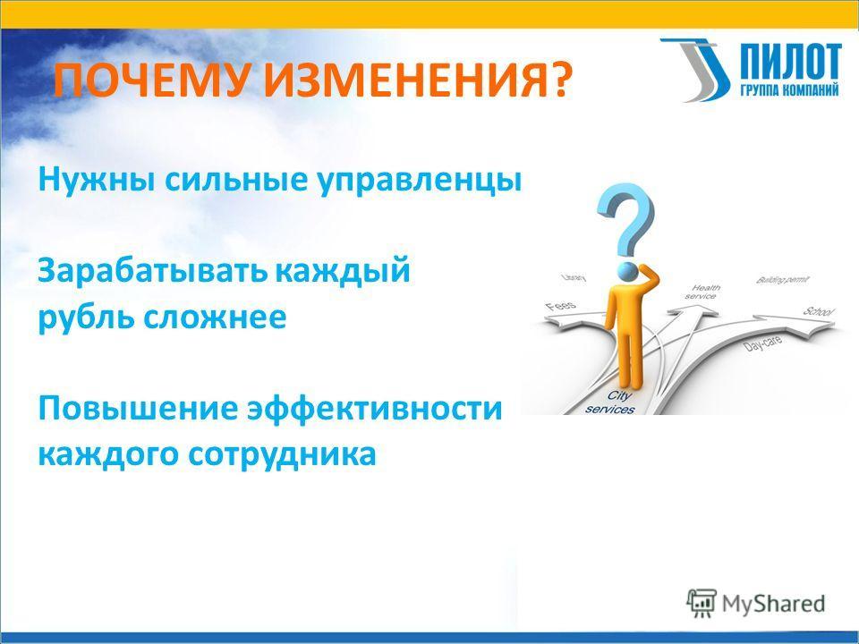 ПОЧЕМУ ИЗМЕНЕНИЯ? Нужны сильные управленцы Зарабатывать каждый рубль сложнее Повышение эффективности каждого сотрудника