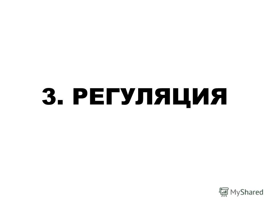 3. РЕГУЛЯЦИЯ