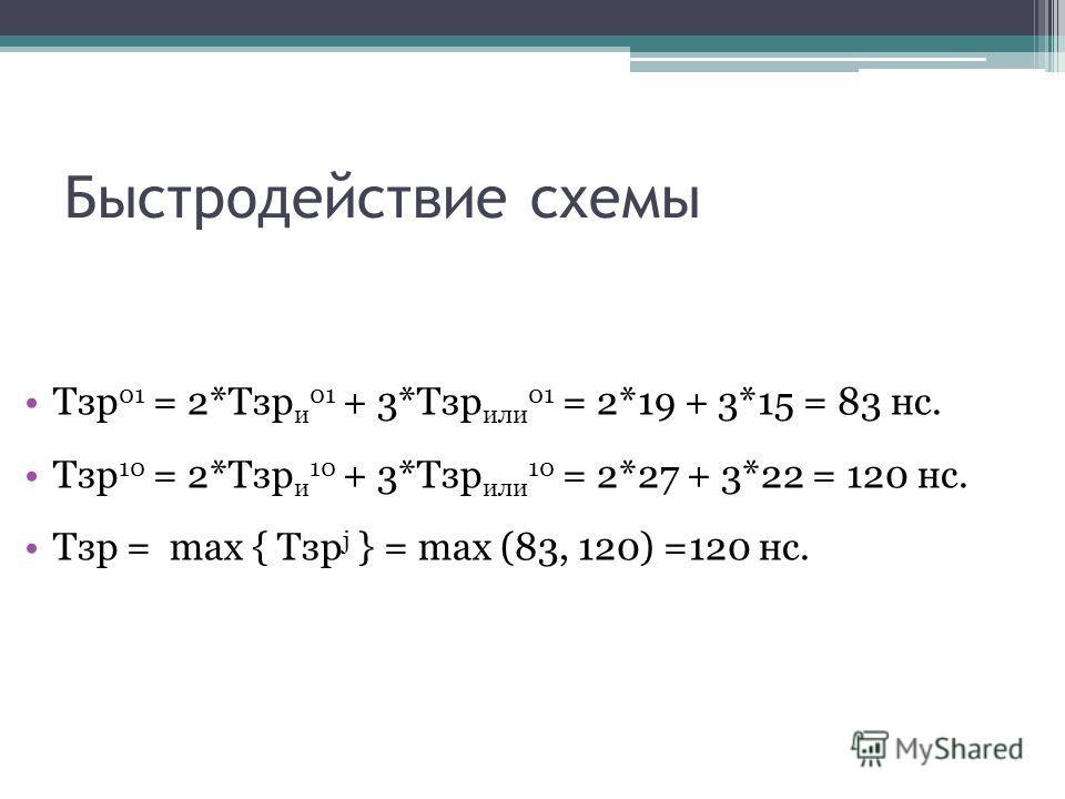 Быстродействие схемы Тзр 01 = 2*Тзр и 01 + 3*Тзр или 01 = 2*19 + 3*15 = 83 нс. Тзр 10 = 2*Тзр и 10 + 3*Тзр или 10 = 2*27 + 3*22 = 120 нс. Тзр = max { Тзр j } = max (83, 120) =120 нс.