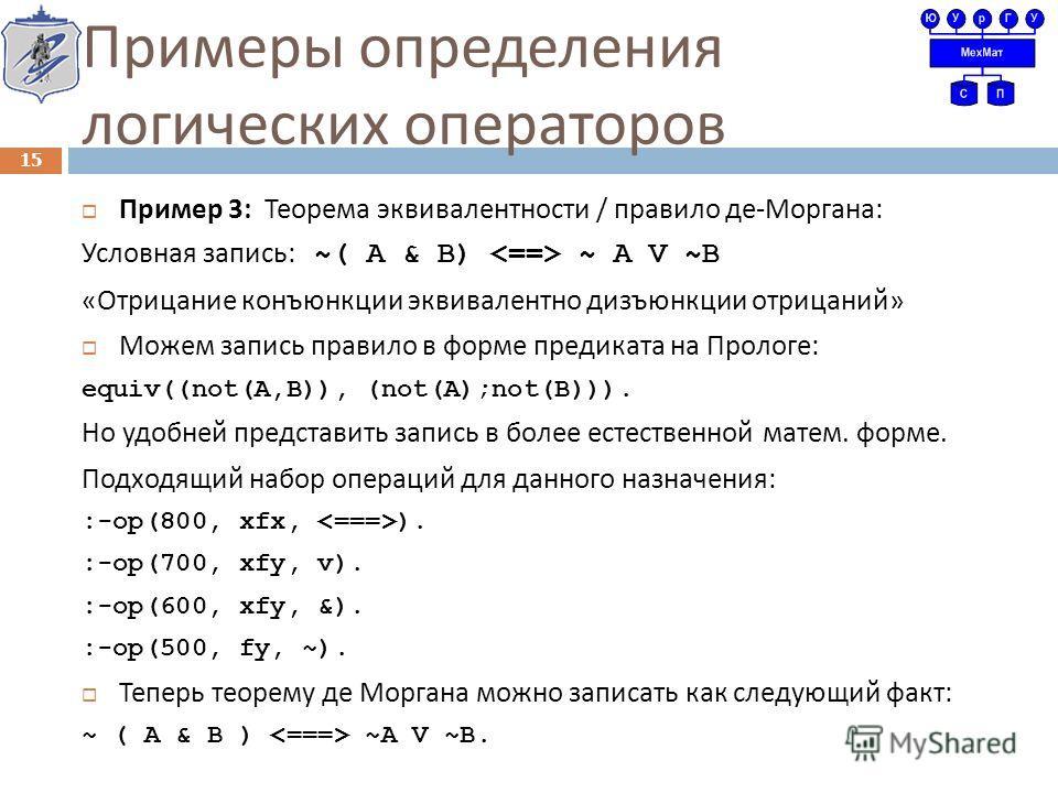 Примеры определения логических операторов Пример 3: Теорема эквивалентности / правило де - Моргана : Условная запись : ~( A & B) ~ A V ~B « Отрицание конъюнкции эквивалентно дизъюнкции отрицаний » Можем запись правило в форме предиката на Прологе : e