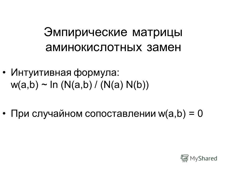 Эмпирические матрицы аминокислотных замен Интуитивная формула: w(a,b) ~ ln (N(a,b) / (N(a) N(b)) При случайном сопоставлении w(a,b) = 0
