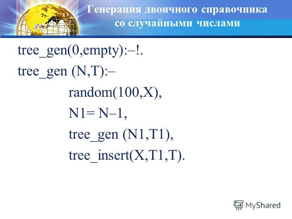 Генерация двоичного справочника со случайными числами tree_gen(0,empty):–!. tree_gen (N,T):– random(100,X), N1= N–1, tree_gen (N1,T1), tree_insert(X,T1,T).